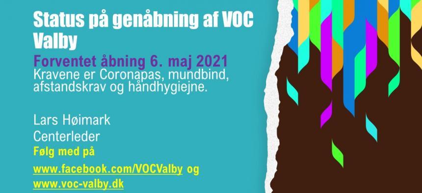 Forventet genåbning af VOC Valby - 6. maj 2021