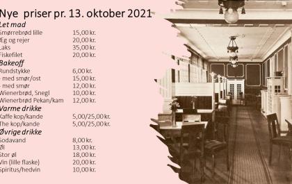 NYE PRISER FRA DEN 13. OKTOBER 2021